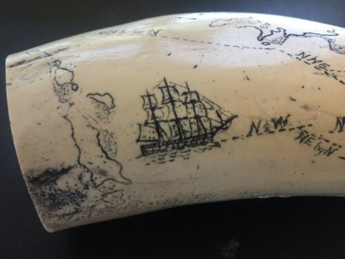 """Scrimshaw Sperm whale tooth resin REPRODUCTION /""""NASSAU 1835/"""" 8/"""" AROUND THE CURVE"""