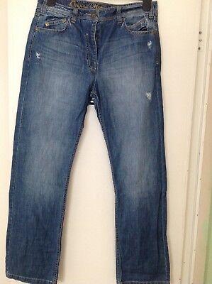 Next Boy Fit Women's Original Vintage Jeans Taglia 10 Regolare-mostra Il Titolo Originale Squisita Arte Tradizionale Del Ricamo