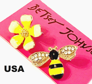 US-Seller-Betsey-Johnson-Crystal-Bee-Flower-Stud-Earrings-Yellow-Fashion-Jewelry