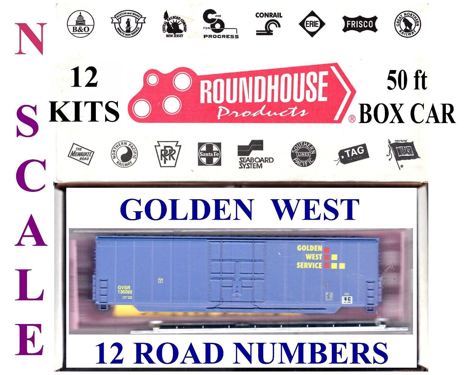 L0t131 N SCALE 12  s  50 ft goldEN WEST SERVICES BOXCAR KITS --NO CA et al SALES