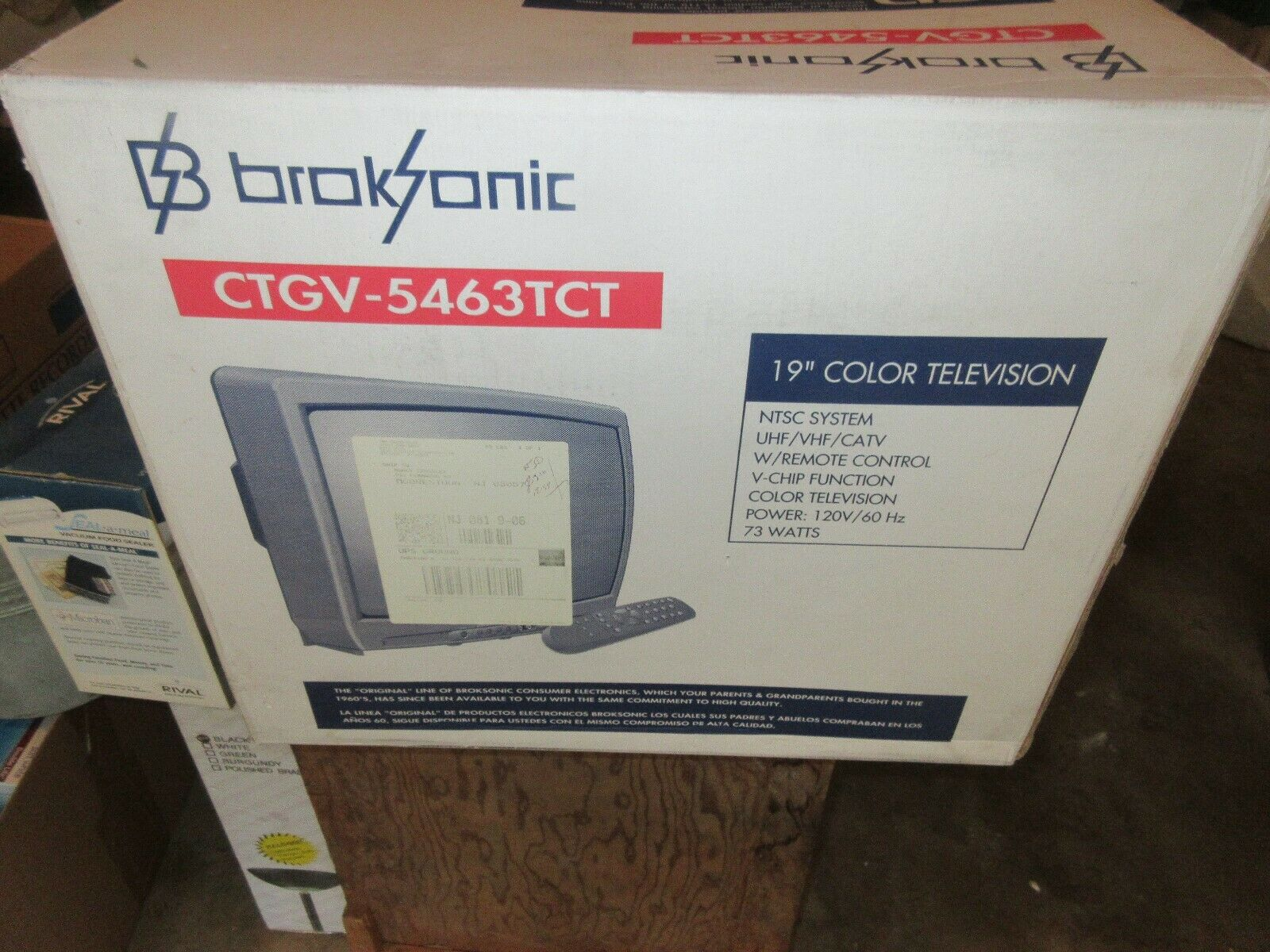 "Broksonic , 19"" Color TV , CTGV-5463TCT , Vintage , NIB"