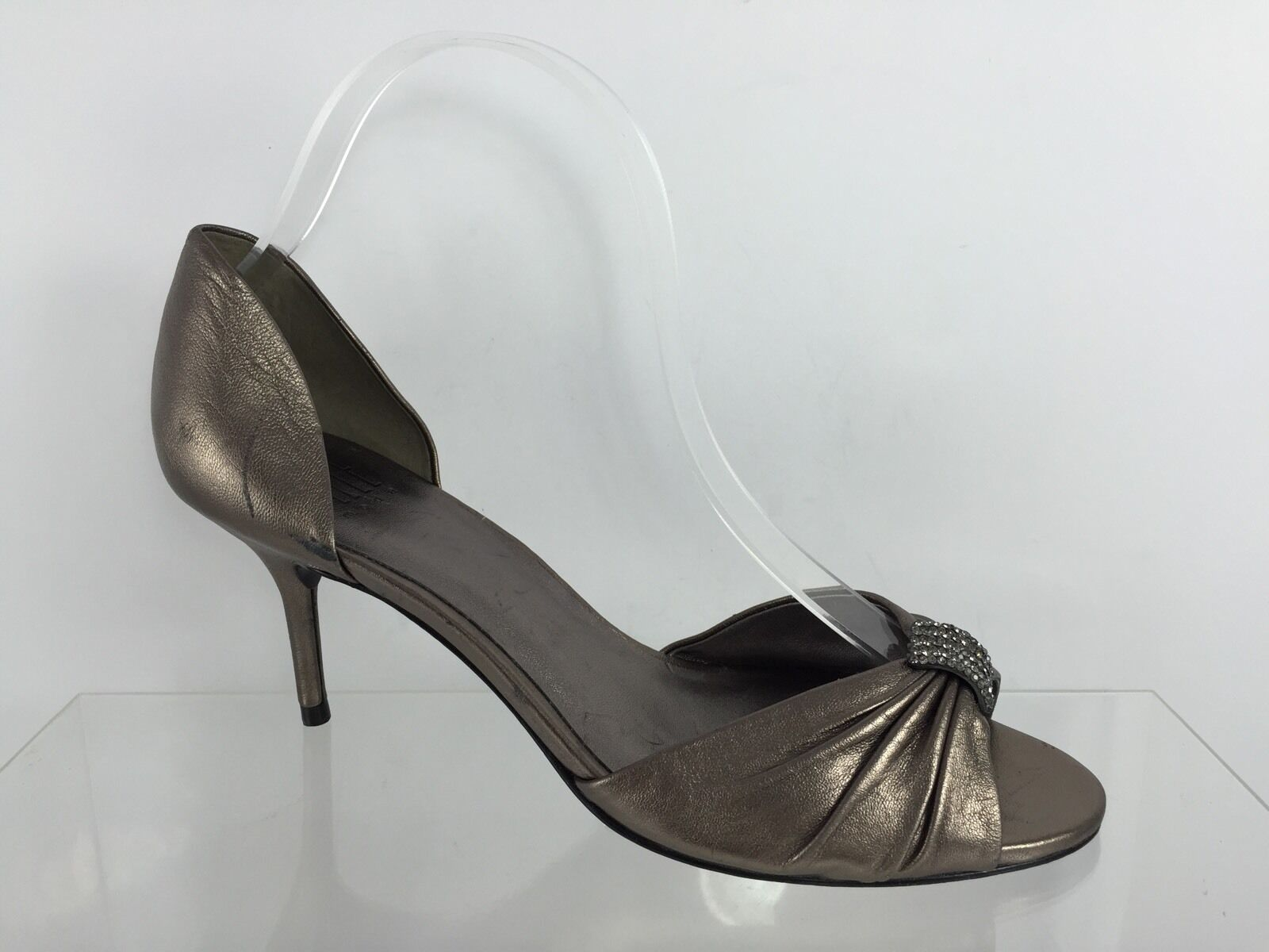 Pelle Moda donna Metallic Bronze Leather Heels 8 M