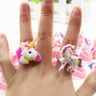 1/5/10Pc Cartoon PVC Unicorn Finger Ring Soft Rubber Kids Toy Gift Party Favor