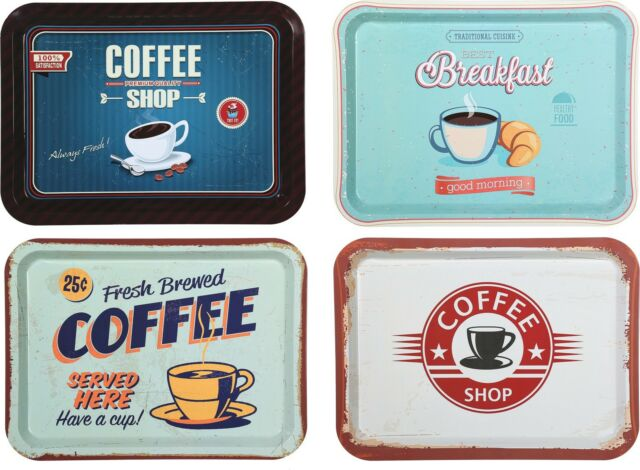 Tablett Serviertablett Metall Vintage Retro Frühstück Küche Bar Bistro Coffee