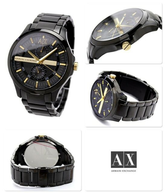 70b425bb2e0 AX Armani Exchange Watch Men s Black Ion Plated Stainless Steel Bracelet  46mm AX2121