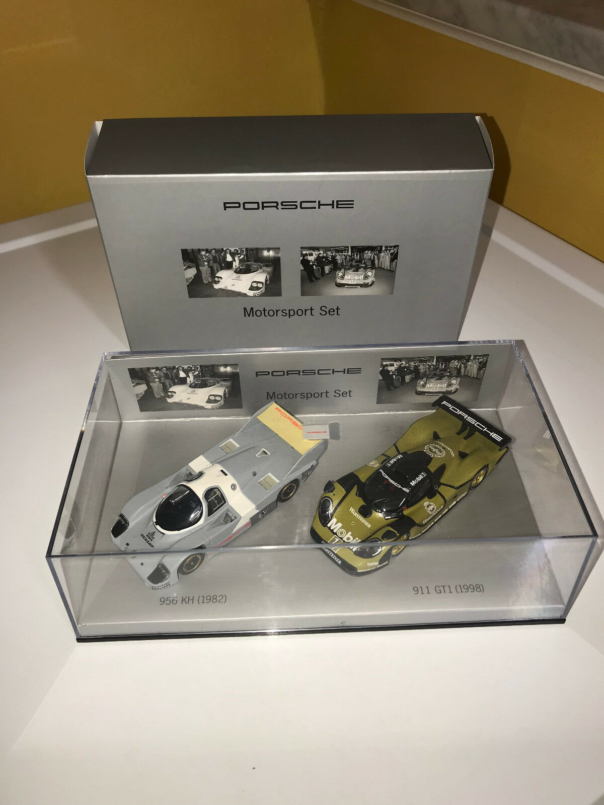 PORSCHE DESIGN MOTORSPORT LIMITED EDITION 2 MODEL CAR SET,1 43 SCALE. NIB.
