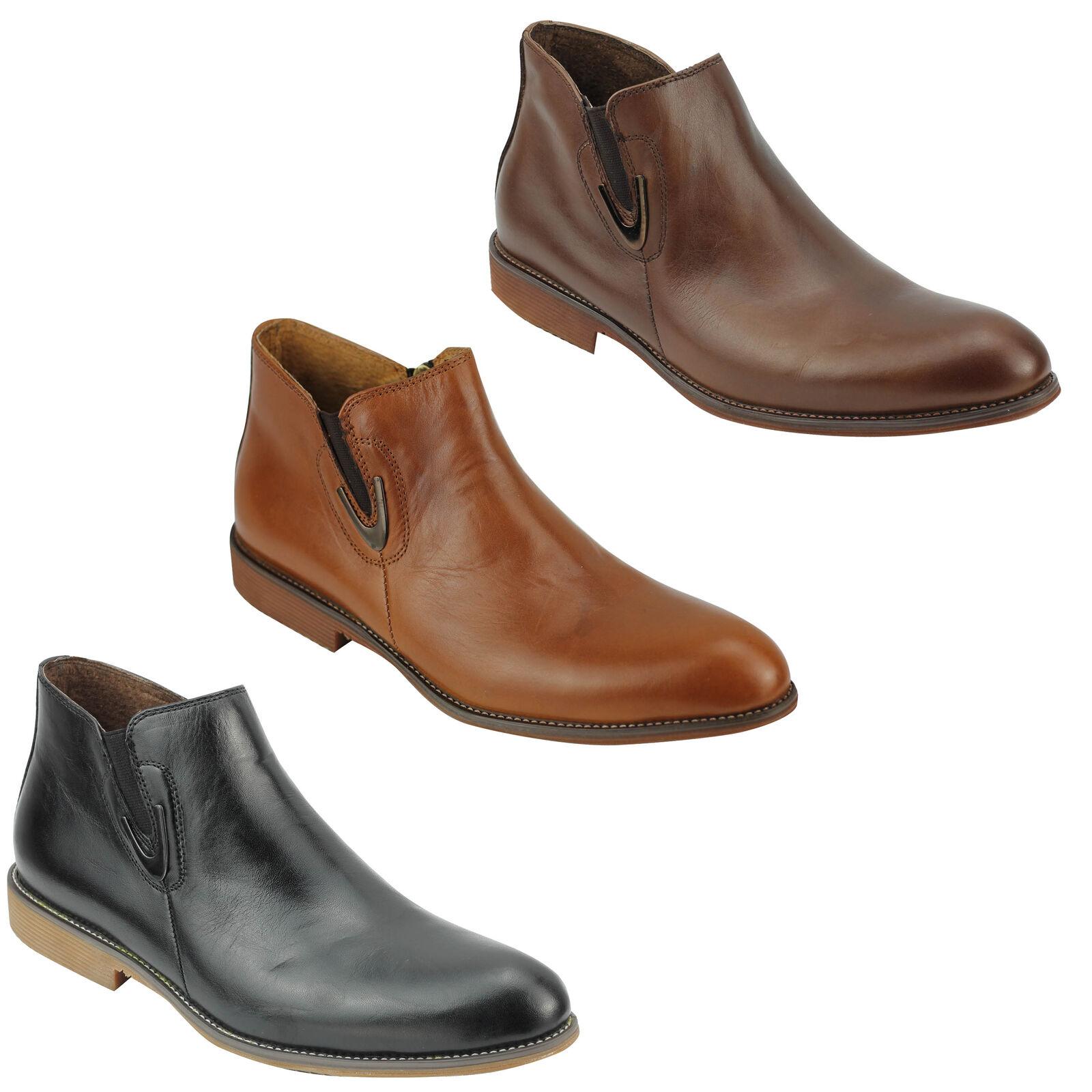NV UOMO VERA PELLE CHELSEA Vintage Scarpe Classico Zip Alla Caviglia Scarpe Vintage Nero Marrone f5956d