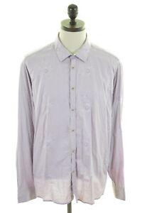 TED-BAKER-Mens-Shirt-Large-Purple-Floral-Cotton