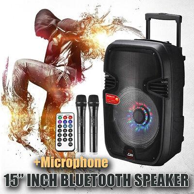 15'' BLUETOOTH Portable KARAOKE PARTY DJ Dancer SPEAKER System with 2pcs Mic