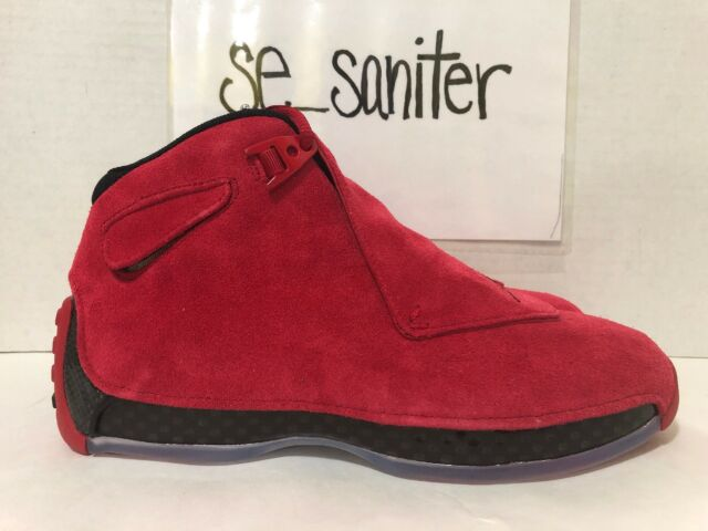 reputable site ff1d3 eabe1 NIKE AIR JORDAN 18 RETRO TORO GYM RED SUEDE BLACK AA2494 601 SZ 8 --