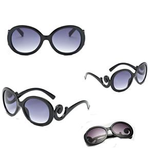 BLACK Swirl Arms Stile Vintage Oversize retrosunglasses Ispirato Rotondo Regalo XX