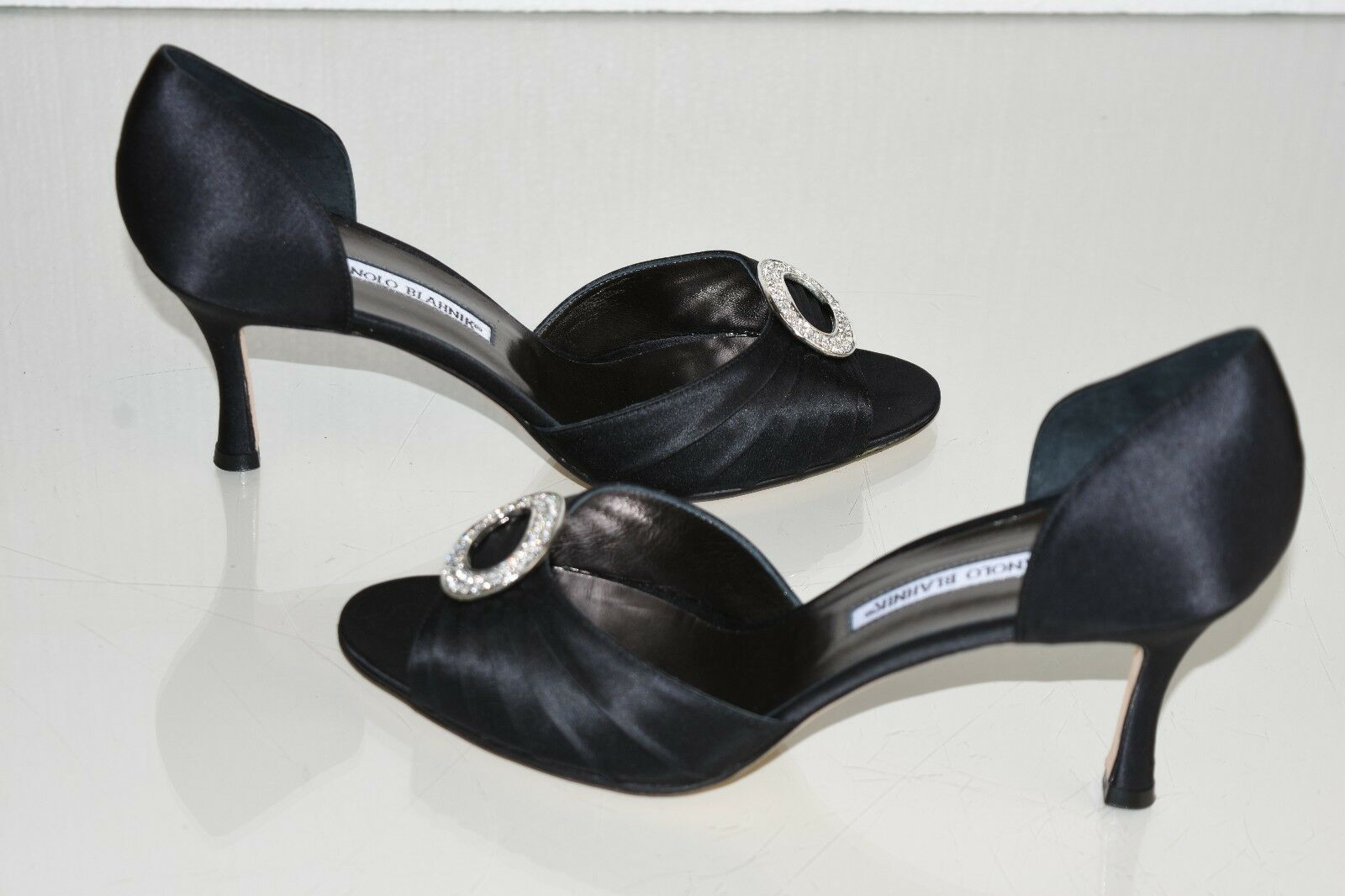 785 New MANOLO BLAHNIK SEDARABY 90 Black Satin Silver Jeweled  SHOES 41