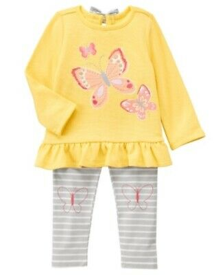 NWT Gymboree BUTTERFLY GARDEN Girls Sz 4T 5T Tee Shirt Top /& Bow Pants 2-PC SET
