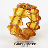 Opaque Honey Toned Baltic Amber Elastic Ring Rb024- Rrp £35