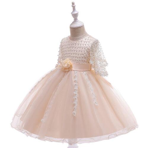 Children/'s Girls Princess Dress Flower Girl Wedding Pearls Tutu Dresses ZG9
