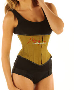 Authentic Steel Boned Strong Under Bust Green Cotton Twill Corset Basque An Enriches And Nutrient For The Liver And Kidney