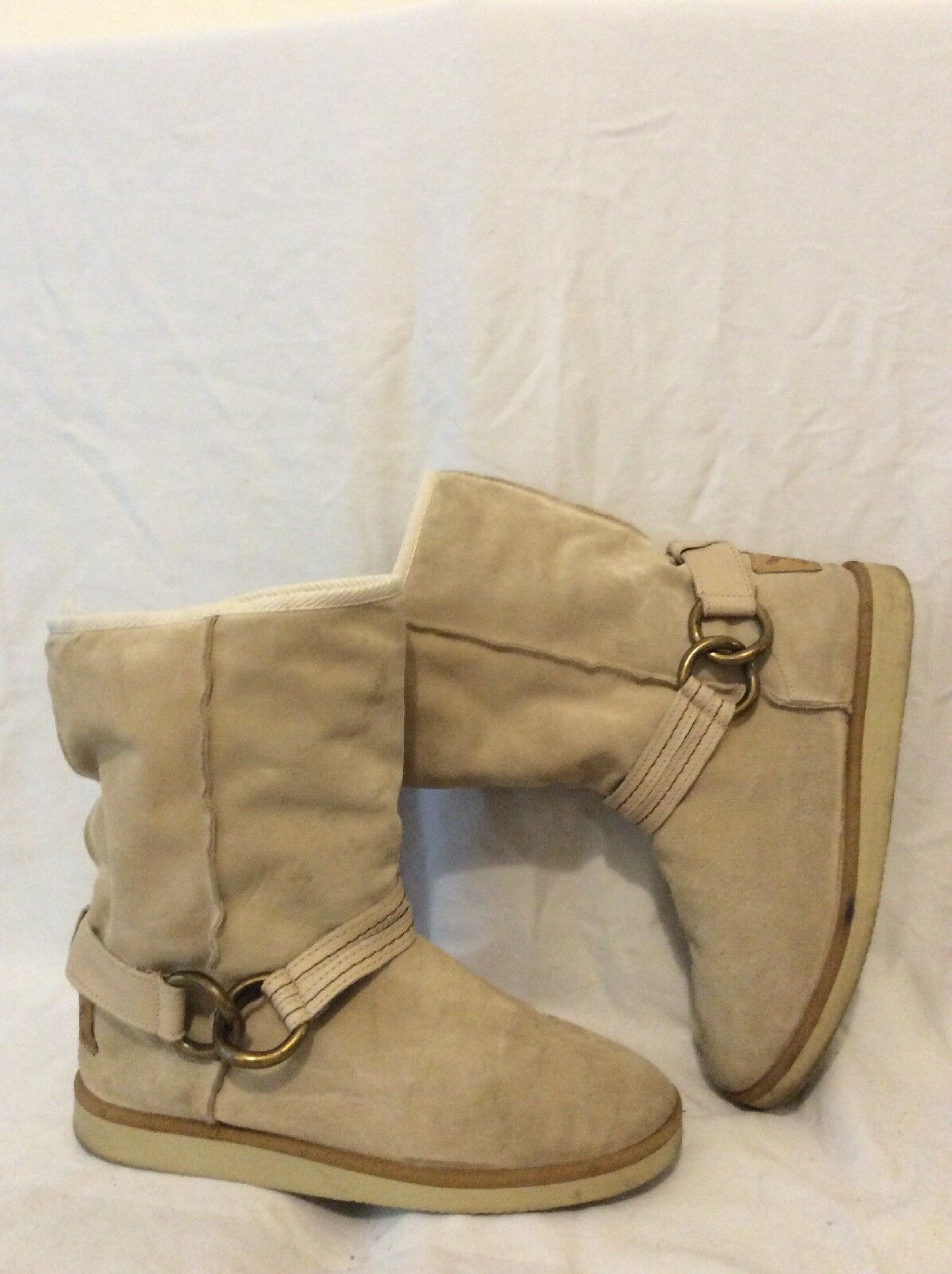 River Island Beige Mid Calf Suede Boots Size 6
