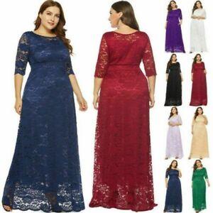 Plus-Size-Women-039-s-A-Line-Cocktail-Party-Wedding-Evening-Formal-Lace-Long-Dresses