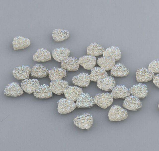 32PCS 12MM Resin heart flatback Scrapbooking for phone/wedding/crafts white AB/