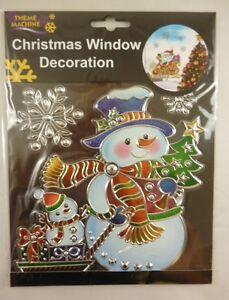 Christmas-Window-Decoration-Sticker-Suncatcher-Snowman-Snowflakes-DP116