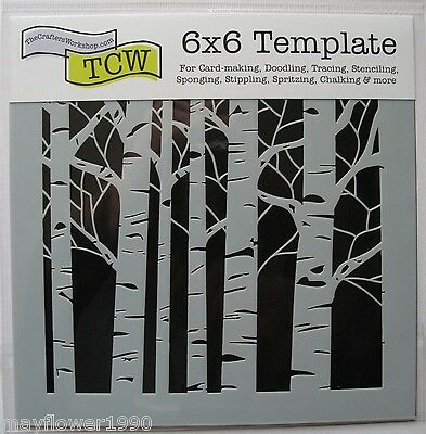 "Crafters Workshop MASK Stencil template 6"" x 6"" ASPEN TREES"