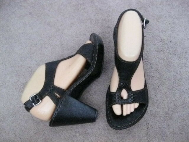BORN Black Leather T-Strap Slingback Sandals w/ Heel 8 M - NICE