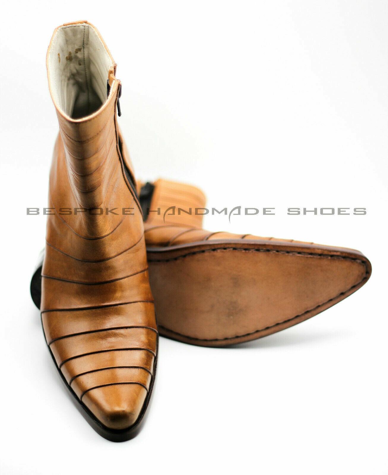 Bespoke cuero hecha a mano 14 piezas Cremallera Tobillo botas de múltiples articulaciones Elevador