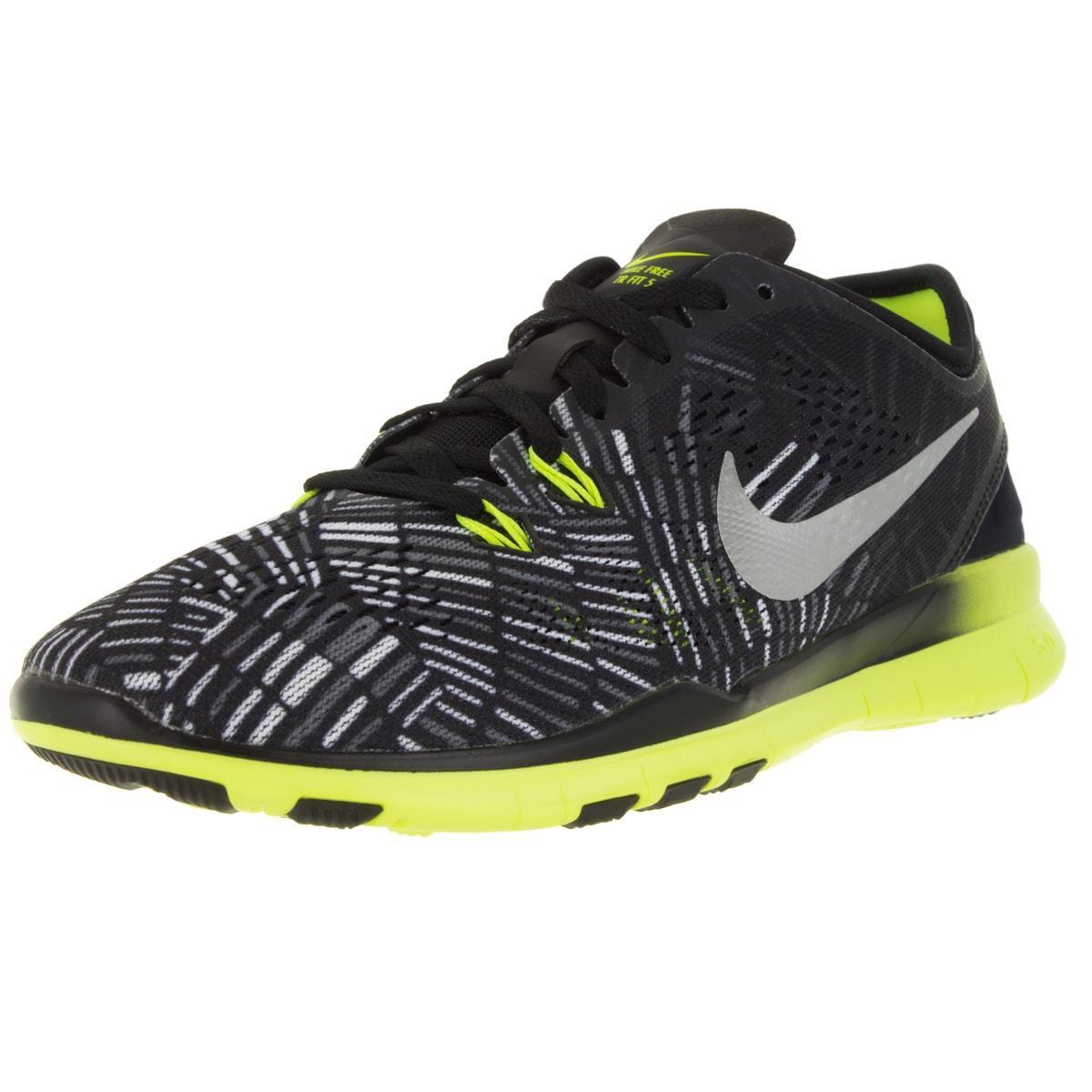 Nike Women's Free 5.0 Tr Fit 5 Prt Prt Prt Black Metallic Silver Volt Training sz 8 ee8c43