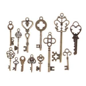 13pcs-Mix-Jewelry-Antique-Vintage-Old-Look-Skeleton-Keys-Tone-Charms-PendanE9C