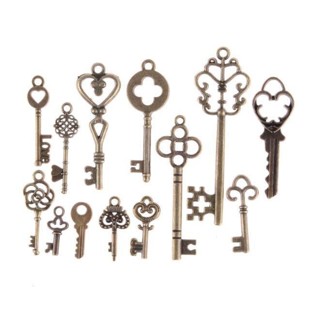 13pcs Mix Jewelry Antique Vintage Old Look Skeleton Keys Tone Charms PendanE9C