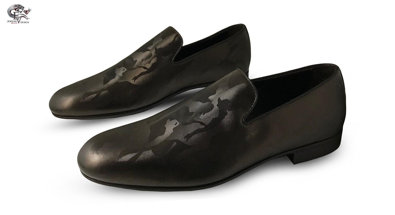 Jimmy Choo Sloane Sleepers/Slip On Brown/Golden Camo Fabric S 43 Men's Brand New