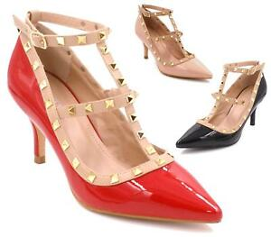 cbe3e92c1a0 WOMENS LADIES MID HEEL GOLD STUDDED T-BAR POINTED COURT SHOES ...