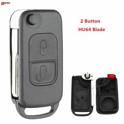 Keyecu 3 Button Flip Remote Key Shell Case Fob for MERCEDES-BENZ Fob ML S C HU64 Blade