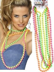 1980s-Neon-Fluorescent-Disco-80s-Beads-Fancy-Dress-Costume-Accessory-4-Colours