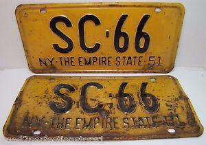 Old Retired 1951 Ny Sc 66 New York Empire State License Plates Pair 51 Ny Sc 66 Ebay