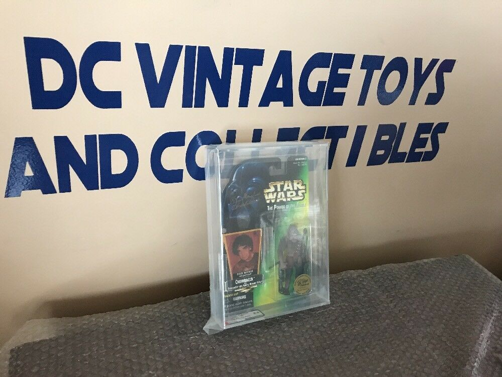 Signed Peter Mayhew TOY EXPO LIMITED EDITION Chewbacca Star Wars PoTF AFA 8.5