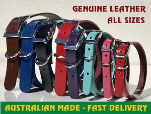 Leather-Dog-Collar-Lead-Harness-Plain-Belleved-Full-Buckle-All-Sizes-7-Colours