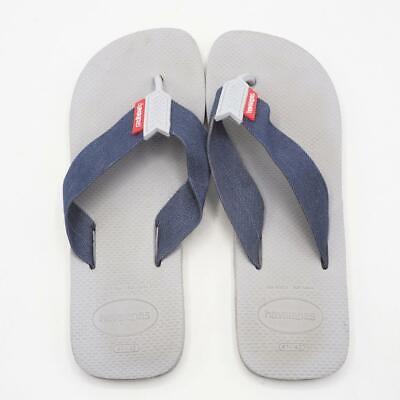 Mens Flip Flops BLACK /& GRAY FABRIC STRAP Size S 7-8 M 9-10 L 11-12 XL 13-14