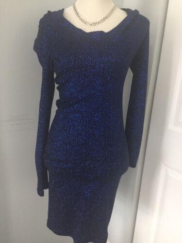 Glitter Hooded Dress dark blue