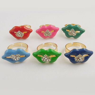 37759 New Fashion Mixed color Alloy Rhinestone Sexy Lip Shape Ring 14pcs