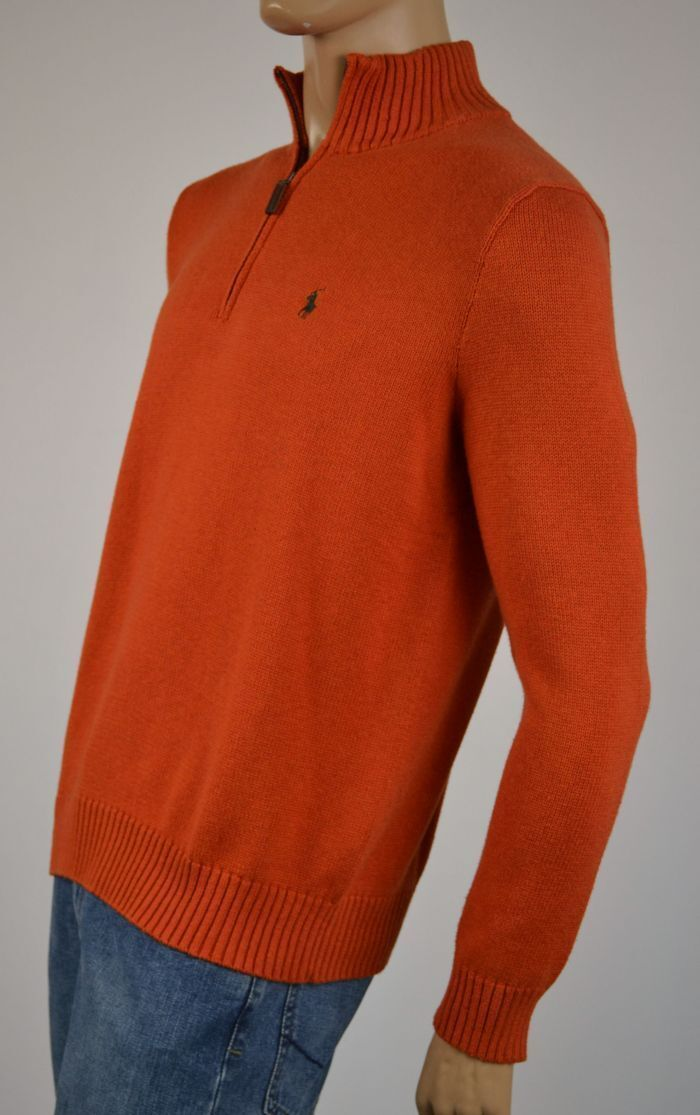 Polo Ralph Lauren Orange 1/2 HALF ZIP SWEATSHIRT NWT L