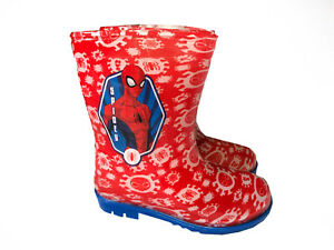 8b62d75932f Details about Childrens SPIDERMAN Wellies Red & Blue Spidey Wellington  Boots Boys Kids Sizes