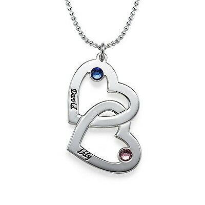 Sterling Silver Engraved Heart Necklace with Birthstones