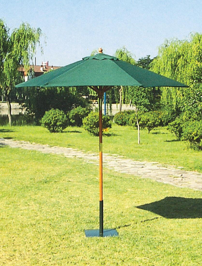 OMBRELLONE DA GIARDINO IN LEGNO TONDO 250 CM 6 STECCHE verde
