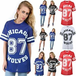 b66b4be0ee750 Women Ladies Printed Chicago 87 Wolves Airtex Varsity Baseball Baggy ...