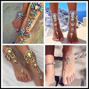 Mode Cristal Strass Bracelet Plage Cheville Pieds nus Sandale Bijoux ... ddafa2aff57d