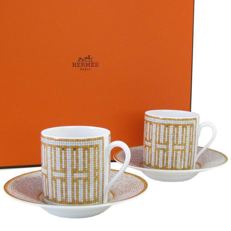 Hermes Mosaique au 24 Coffee Cup & Saucer Set of 2 or Porcelain Dinnerware 36