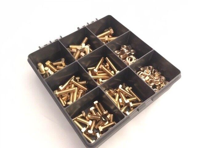 Assorted M6, M8 Metric Brass Hex Head Set Screw Bolts Full Nuts 180pcs