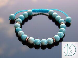 Chinese Larimar Natural Gemstone Bracelet 6-9'' Macrame Healing Stone Chakra