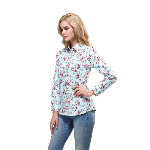 Women Long Sleeve Loose Tops T Shirt OL Ladies Plain Casual Button Blouse